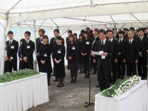 納骨式(内木医学部長による追悼の言葉)