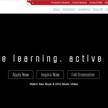 ディクシー州立大学ホームページ画像 Home page image of Dixie State University