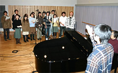 "Image showing the recording of the university song by the ""Green Echo Choir"" of the Department of Music"